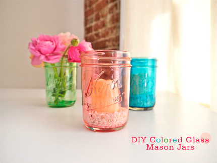 Colored Glass Mason Jar Candle Holders